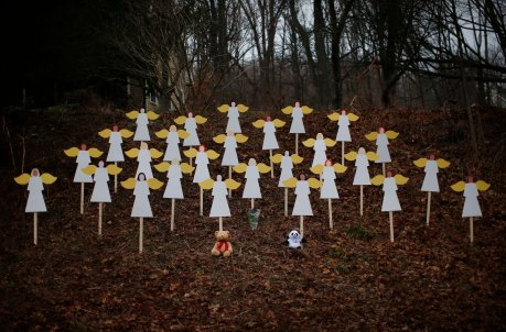 PAINTED ANGELS STAND AS MEMORIAL TO THOSE SLAIN IN SHOOTING TRAGEDY  IN NEWTOWN, CONN.